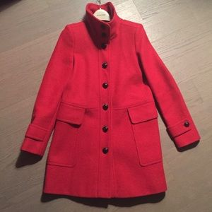 Classic red wool Burberry coat
